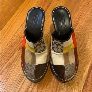 Coach size 5 slip on heels practically new
